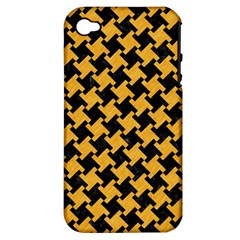 Houndstooth2 Black Marble & Orange Colored Pencil Apple Iphone 4/4s Hardshell Case (pc+silicone) by trendistuff