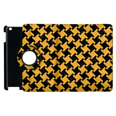 Houndstooth2 Black Marble & Orange Colored Pencil Apple Ipad 3/4 Flip 360 Case by trendistuff