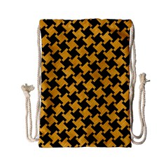 Houndstooth2 Black Marble & Orange Colored Pencil Drawstring Bag (small) by trendistuff