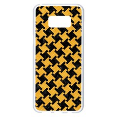 Houndstooth2 Black Marble & Orange Colored Pencil Samsung Galaxy S8 Plus White Seamless Case by trendistuff