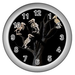 Dead Tree  Wall Clocks (silver)  by Valentinaart