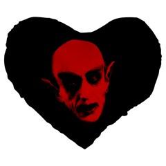 Dracula Large 19  Premium Flano Heart Shape Cushions by Valentinaart