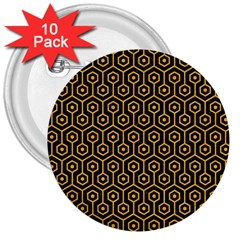 Hexagon1 Black Marble & Orange Colored Pencil 3  Buttons (10 Pack)  by trendistuff