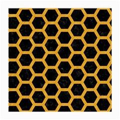 Hexagon2 Black Marble & Orange Colored Pencil Medium Glasses Cloth (2 Side) by trendistuff