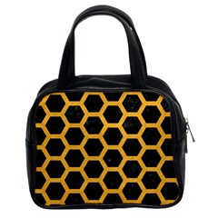 Hexagon2 Black Marble & Orange Colored Pencil Classic Handbags (2 Sides) by trendistuff