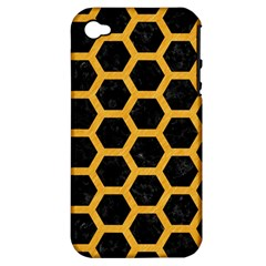 Hexagon2 Black Marble & Orange Colored Pencil Apple Iphone 4/4s Hardshell Case (pc+silicone) by trendistuff
