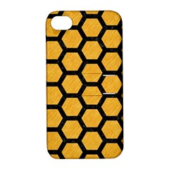Hexagon2 Black Marble & Orange Colored Pencil (r) Apple Iphone 4/4s Hardshell Case With Stand by trendistuff