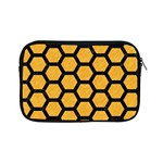 HEXAGON2 BLACK MARBLE & ORANGE COLORED PENCIL (R) Apple iPad Mini Zipper Cases Front