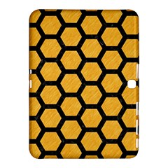 Hexagon2 Black Marble & Orange Colored Pencil (r) Samsung Galaxy Tab 4 (10 1 ) Hardshell Case  by trendistuff