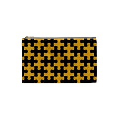 Puzzle1 Black Marble & Orange Colored Pencil Cosmetic Bag (small)  by trendistuff