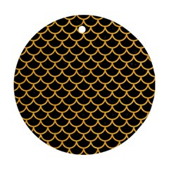 Scales1 Black Marble & Orange Colored Pencil Round Ornament (two Sides) by trendistuff
