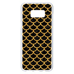 Scales1 Black Marble & Orange Colored Pencil Samsung Galaxy S8 Plus White Seamless Case by trendistuff