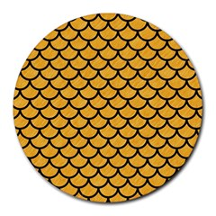 Scales1 Black Marble & Orange Colored Pencil (r) Round Mousepads by trendistuff