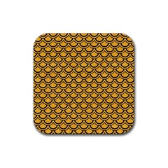 Scales2 Black Marble & Orange Colored Pencil (r) Rubber Square Coaster (4 Pack)  by trendistuff