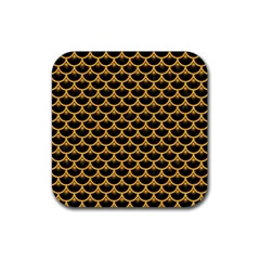 Scales3 Black Marble & Orange Colored Pencil Rubber Square Coaster (4 Pack)  by trendistuff