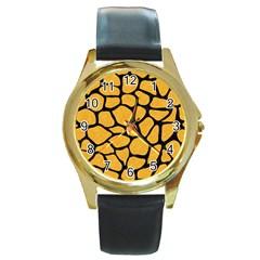 Skin1 Black Marble & Orange Colored Pencil Round Gold Metal Watch by trendistuff