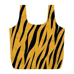 Skin3 Black Marble & Orange Colored Pencil (r) Full Print Recycle Bags (l)  by trendistuff