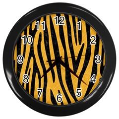 Skin4 Black Marble & Orange Colored Pencil Wall Clocks (black) by trendistuff