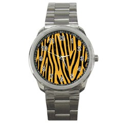 Skin4 Black Marble & Orange Colored Pencil Sport Metal Watch by trendistuff