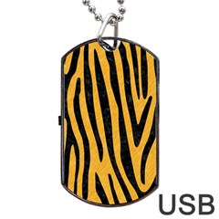 Skin4 Black Marble & Orange Colored Pencil Dog Tag Usb Flash (two Sides) by trendistuff