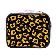 Skin5 Black Marble & Orange Colored Pencil (r) Mini Toiletries Bags by trendistuff