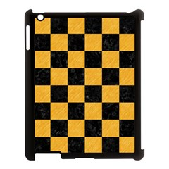 Square1 Black Marble & Orange Colored Pencil Apple Ipad 3/4 Case (black) by trendistuff