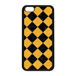 SQUARE2 BLACK MARBLE & ORANGE COLORED PENCIL Apple iPhone 5C Seamless Case (Black) Front