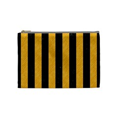 Stripes1 Black Marble & Orange Colored Pencil Cosmetic Bag (medium)  by trendistuff
