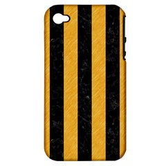 Stripes1 Black Marble & Orange Colored Pencil Apple Iphone 4/4s Hardshell Case (pc+silicone) by trendistuff