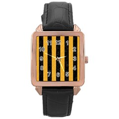 Stripes1 Black Marble & Orange Colored Pencil Rose Gold Leather Watch