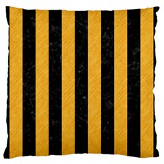 Stripes1 Black Marble & Orange Colored Pencil Large Flano Cushion Case (one Side) by trendistuff