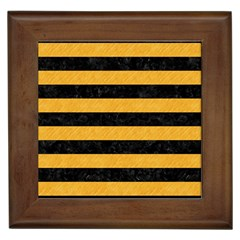 Stripes2 Black Marble & Orange Colored Pencil Framed Tiles by trendistuff