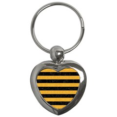 Stripes2 Black Marble & Orange Colored Pencil Key Chains (heart)  by trendistuff