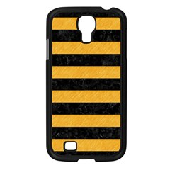 Stripes2 Black Marble & Orange Colored Pencil Samsung Galaxy S4 I9500/ I9505 Case (black)