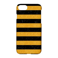 Stripes2 Black Marble & Orange Colored Pencil Apple Iphone 7 Hardshell Case