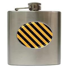 Stripes3 Black Marble & Orange Colored Pencil (r) Hip Flask (6 Oz) by trendistuff