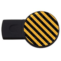 Stripes3 Black Marble & Orange Colored Pencil (r) Usb Flash Drive Round (4 Gb) by trendistuff