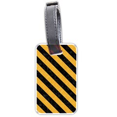 Stripes3 Black Marble & Orange Colored Pencil (r) Luggage Tags (one Side)  by trendistuff