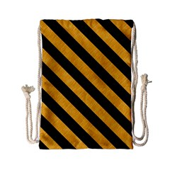 Stripes3 Black Marble & Orange Colored Pencil (r) Drawstring Bag (small) by trendistuff