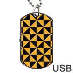Triangle1 Black Marble & Orange Colored Pencil Dog Tag Usb Flash (two Sides) by trendistuff