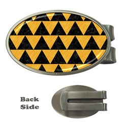 Triangle2 Black Marble & Orange Colored Pencil Money Clips (oval)  by trendistuff