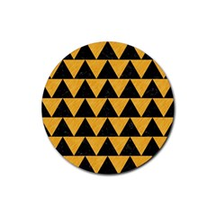 Triangle2 Black Marble & Orange Colored Pencil Rubber Round Coaster (4 Pack)  by trendistuff