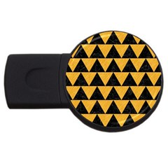 Triangle2 Black Marble & Orange Colored Pencil Usb Flash Drive Round (4 Gb) by trendistuff
