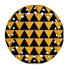 Triangle2 Black Marble & Orange Colored Pencil Ornament (round Filigree) by trendistuff