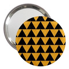 Triangle2 Black Marble & Orange Colored Pencil 3  Handbag Mirrors by trendistuff