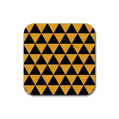 Triangle3 Black Marble & Orange Colored Pencil Rubber Square Coaster (4 Pack)  by trendistuff