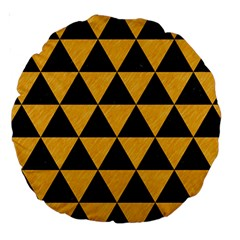 Triangle3 Black Marble & Orange Colored Pencil Large 18  Premium Round Cushions by trendistuff