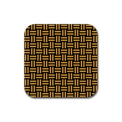 Woven1 Black Marble & Orange Colored Pencil Rubber Square Coaster (4 Pack)  by trendistuff