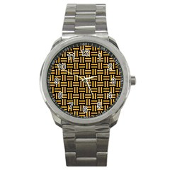 Woven1 Black Marble & Orange Colored Pencil Sport Metal Watch by trendistuff