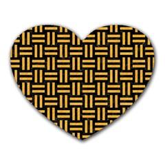Woven1 Black Marble & Orange Colored Pencil Heart Mousepads by trendistuff